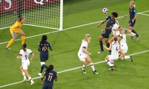 Wendie Renard scores for France in their quarter-final defeat to the USA in a game many felt would have been a fitting final.