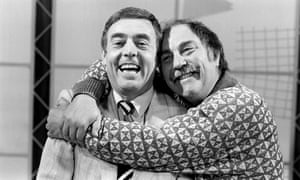 Jimmy Greaves, right, and Ian St John on the set of Saints and Greavsie in June 1987. The show ran for seven years on ITV