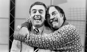Ian St John, left, and Jimmy Greaves during a recording of Saint and Greavsie, which ran for seven years up until 1992