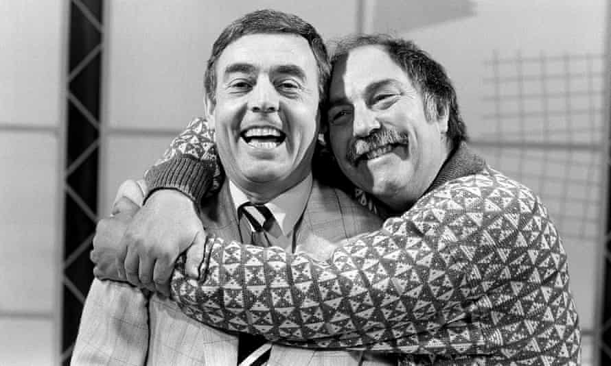 Jimmy Greaves, right, with Ian St John filming their Saint and Greavsie TV show in 1987.