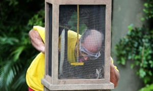 Danny Baker in a yellow t-shirt in I'm a Celebrity