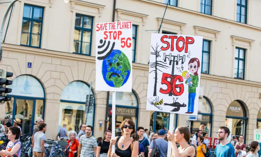Protesters opposing 5G during a climate change demonstration in Munich.