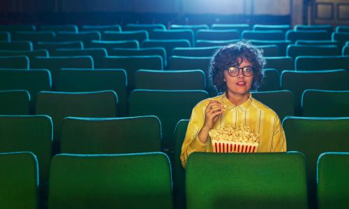 Ruby Tandoh photographed at Abbeydale Picture House, Sheffield. Observer Food Monthly OFM