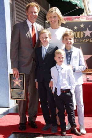 Family guy: with his partner Viveca Paulin and their children.