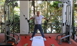 August 2015: Working out at a gym at the Bocharov Ruchei state residence in Sochi