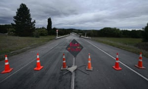 The closed bridge on the approach to Waiau, which suffered severe damage in the earthquake.