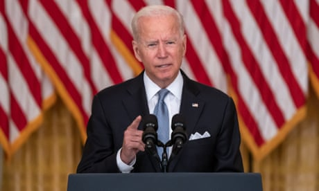 President Joe Biden speaks on the Taliban takeover in Afghanistan from the White House in Washington DC on 16 August.