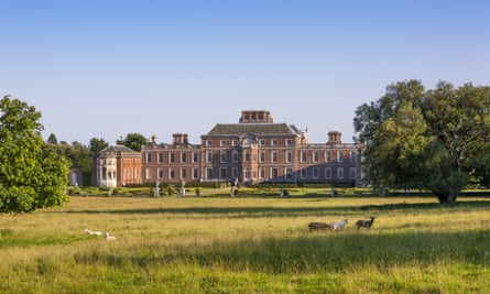 The north front of Wimpole Hall, Cambridgeshire, with deer