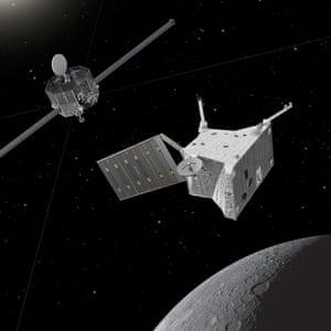 Artist's impression of the BepiColombo spacecraft at Mercury. The mission comprises ESA's Mercury Planetary Orbiter (foreground) and Jaxa's Mercury Magnetospheric Orbiter (background).