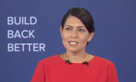 Priti Patel speaking at this year's virtual Conservative party conference.