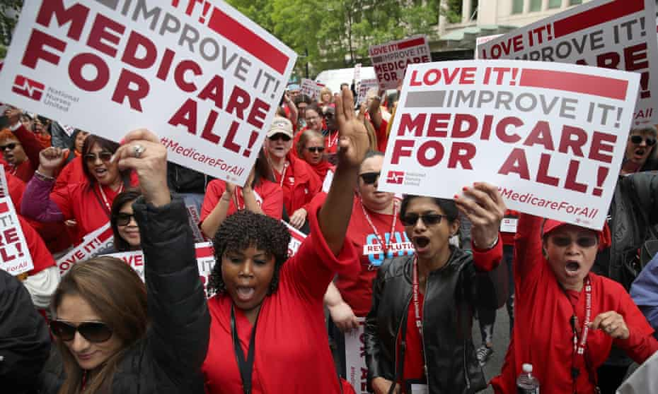Protesters rally outside PhRMA headquarters on 29 April in Washington DC.
