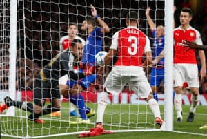 Here it is from the other side of the goal. No matter what way you look at it, it's a huge clanger by Ospina.