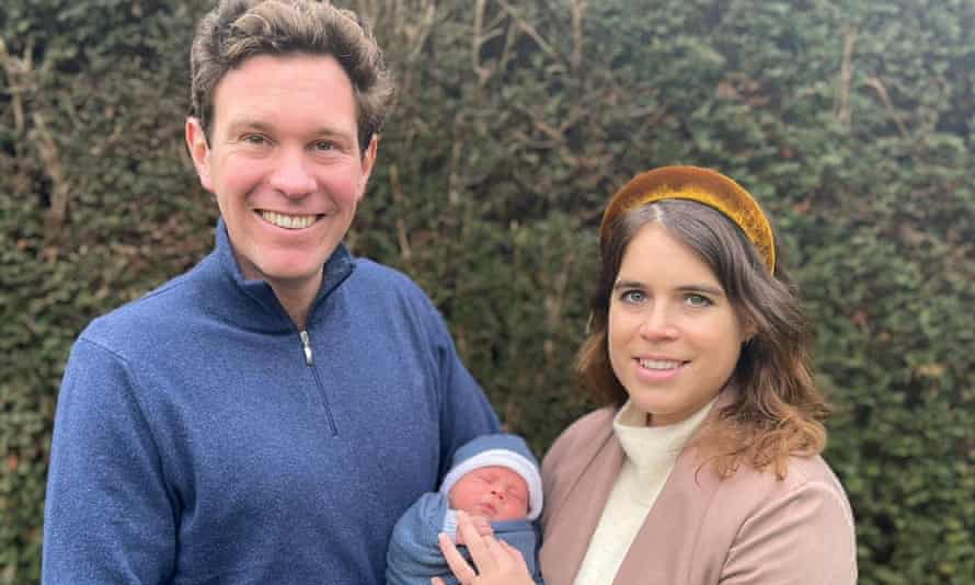 Princess Eugenie and Jack Brooksbank pose with their son August Philip Hawke Brooksbank.