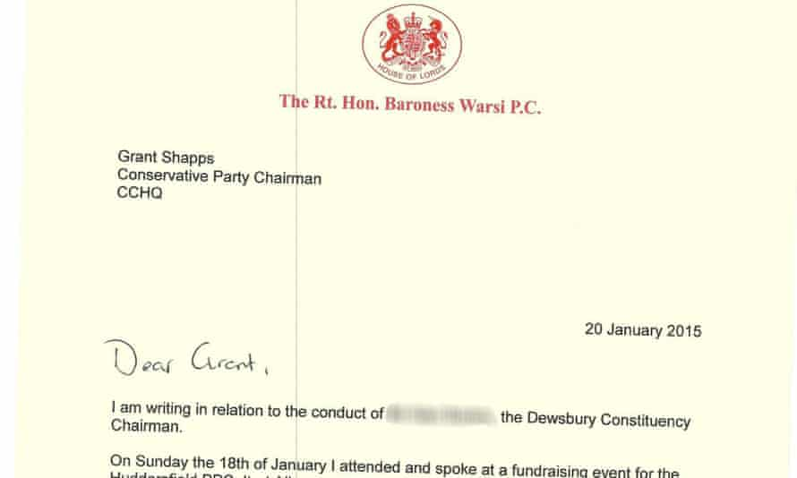 Lady Warsi's letter to Shapps