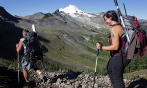 Oliver Grah and Jezra Beaulieu, scientists hired by the Nooksack Indian tribe, hike toward Sholes Glacier in the Mount Baker Wilderness