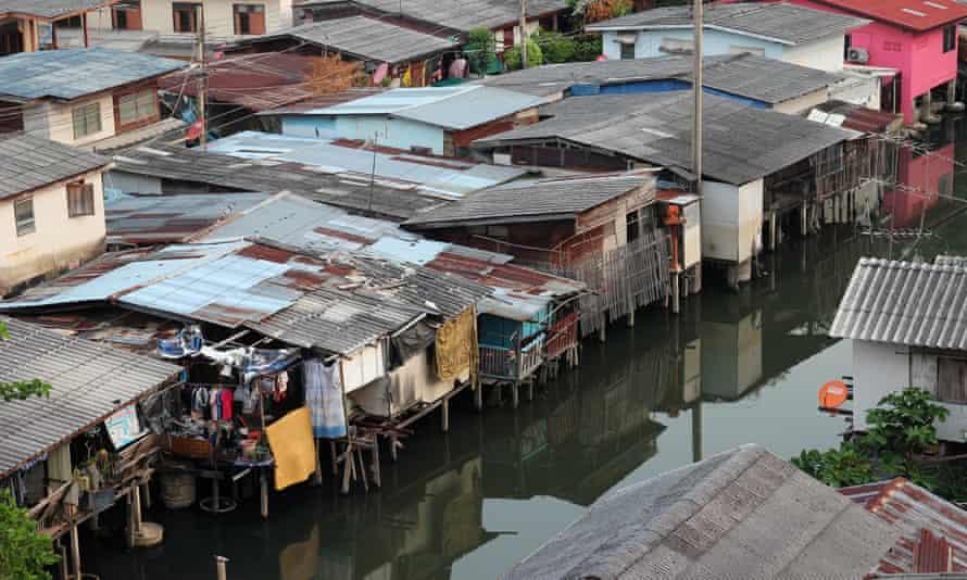 Houses along khlong canal in Bangkok