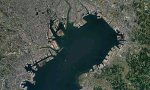 Real satellite image of Tokyo, 2019.