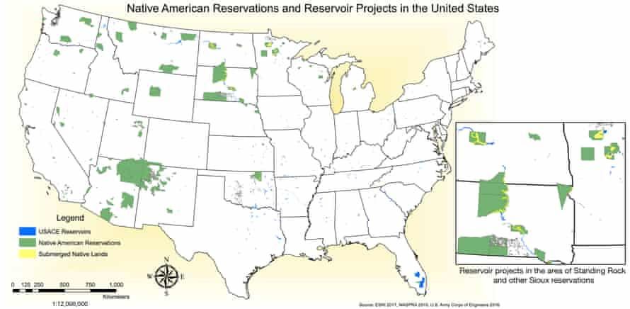 Map of Native American reservations and reservoir projects in the United States.