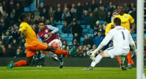 Aston Villa's Scott Sinclair shoots at goal.