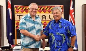 Tuvalu's PM Enele Sopoaga meets with Australia's PM Scott Morrison last week.