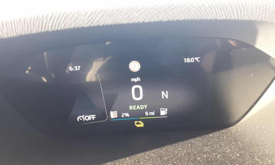 A range-anxiety inducing readout on Sam's electric car.