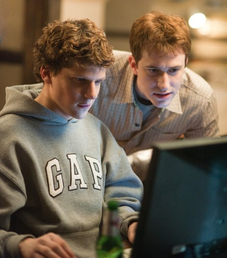 Actors Jesse Eisenberg and Joseph Mazzello in the film The Social Network