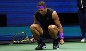 Rafael Nadal celebrates during the second set