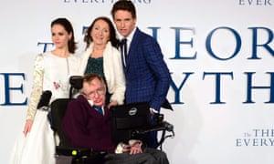 Felicity Jones, Stephen Hawking, Jane Hawking and Eddie Redmayne at the London premiere of The Theory of Everything.