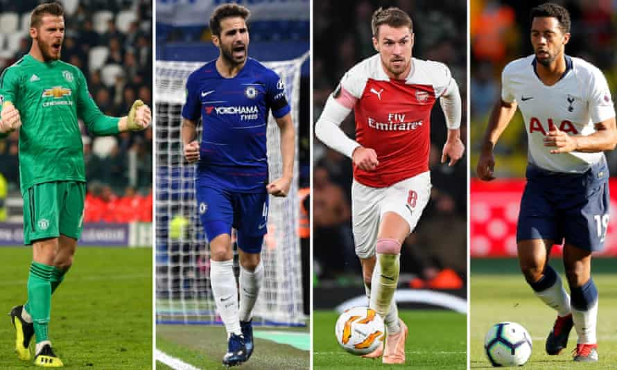 Manchester United have an option to keep David de Gea but Chelsea's Cesc Fàbregas, Arsenal's Aaron Ramsey and Tottenham's Mousa Dembélé look set to leave their clubs.