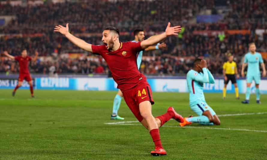 Kostas Manolas celebrates after scoring Roma's third goal to send them into the Champions League semi-finals.