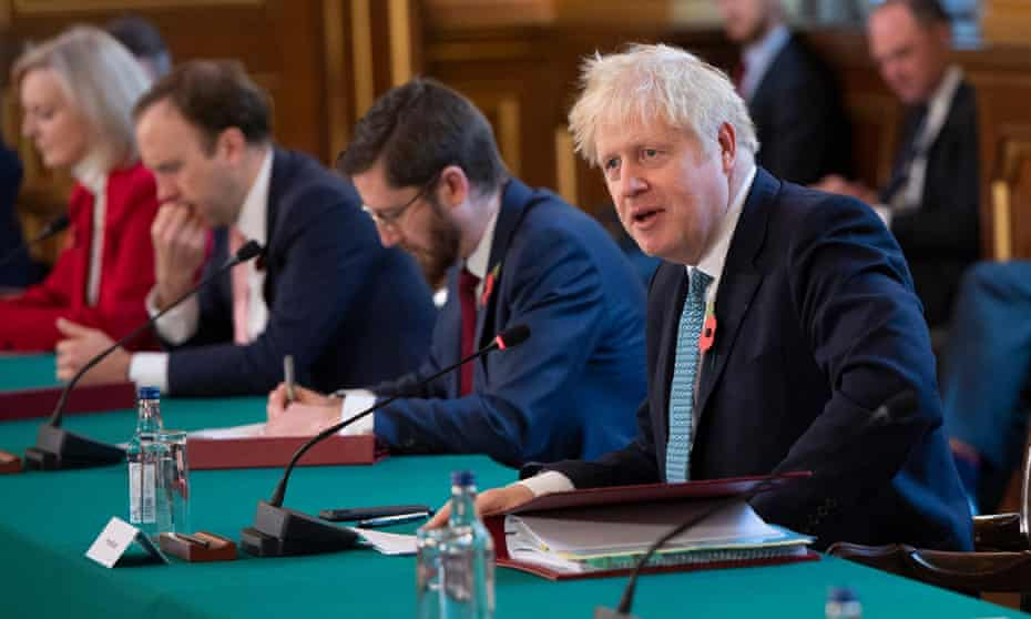 Boris Johnson chairs the weekly cabinet meeting at the Foreign, Commonwealth and Development Office in London.