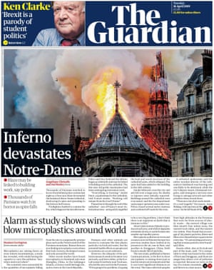 Guardian front page, Tuesday 16 April 2019