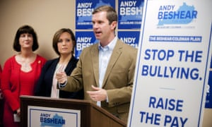 Andy Beshear makes his pitch on education next to his running mate Jacqueline Coleman. Teachers could be a key constituency in the gubernatorial election.