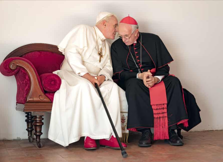 Hopkins and Jonathan Pryce in The Two Popes.
