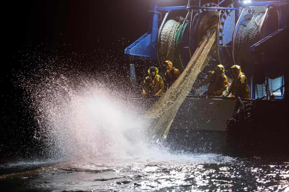 Fishermen pull up nets in the Gulf of Gascony, off the coast of France, on 8 January 2020