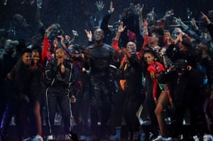 Stormzy performs during the Brit Awards at the O2.