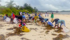 Beach clean at Watamu marine park beach.