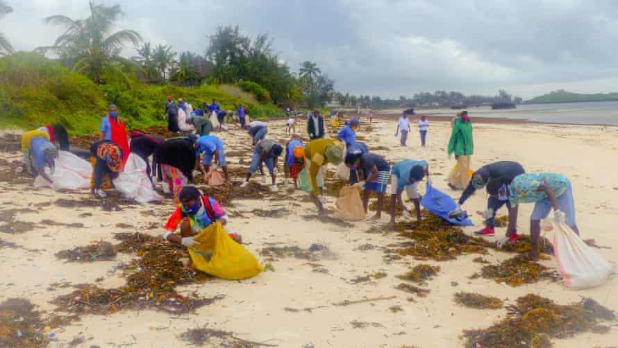 Beach clean at Watamu marine park beach.