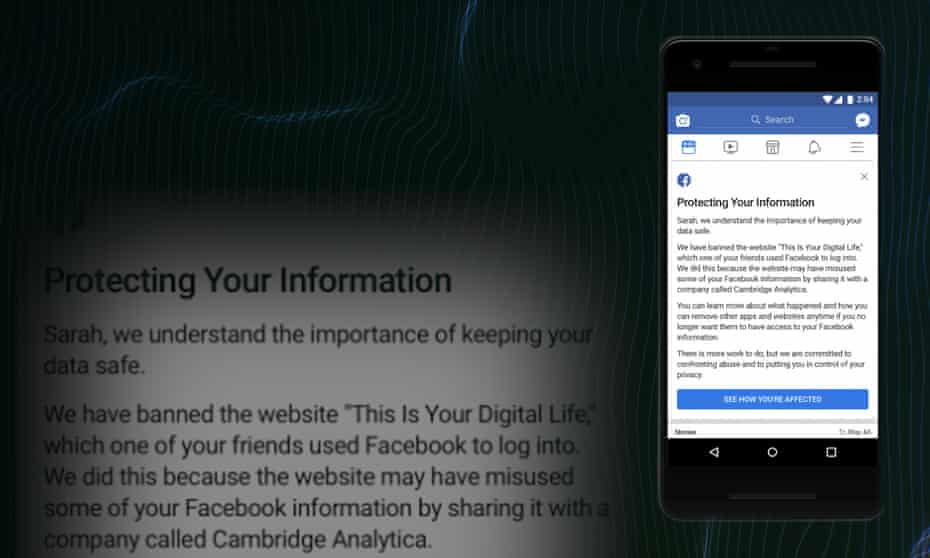 Facebook users affected by the Cambridge Analytica scandal will see this screen informing them whether their data may have been shared without their consent