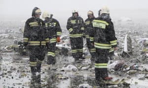 Russian emergency services at the scene of a Flydubai crash in Rostov-On-Don in March.