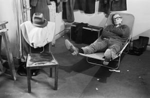 Michael Caine takes a nap during the filming of Woman Times Seven, directed by Vittorio de Sica, in Paris, 1967. All photographs: Terry O'Neill/courtesy of ACC Art Books