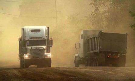 Lorries exiting the Fenix nickel mine in Guatemala.