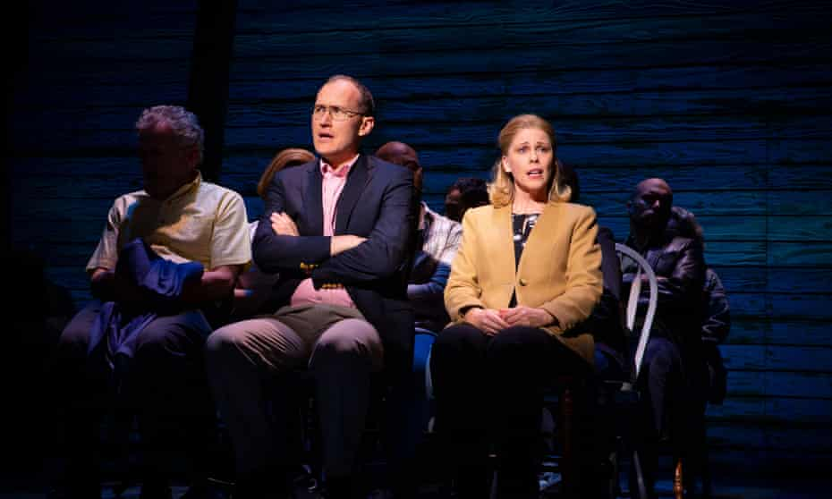 Nathan Carter as Nick and Katrina Retallick as Diane in Come From Away.