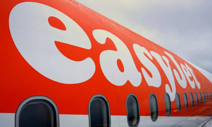 Close-up of an easyJet aircraft