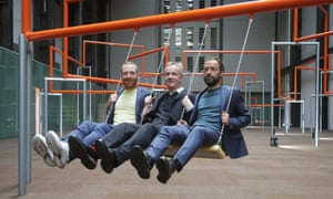 Danish art collective Superflex, from left: Jakob Fenger, Rasmus Nielsen and Bjørnstjerne Christiansen, on One Two Three Swing! at Turbine Hall in Tate Modern, London.