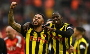 Andre Gray celebrates with Abdoulaye Doucouré at the end of extra time.