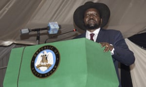 President Salva Kiir voices his reservations before signing a peace agreement in the South Sudanese capital Juba. The deal is meant to end 20 months of civil war, but Kiir is sceptical about its prospects