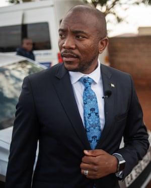 Democratic Alliance leader Mmusi Maimane leaves a voting station in Dobsonville, Johannesburg on Wednesday.