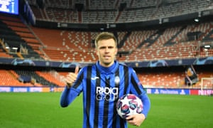 Josip Ilicic poses with the match ball after his four-goal performance – the Slovenian had never scored a Champions League goal before this two-legged tie.