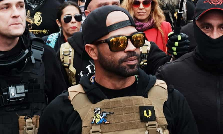 Enrique Tarrio, leader of the far-right group the Proud Boys leader during a march into Freedom Plaza, in Washington DC on 12 December 2020.